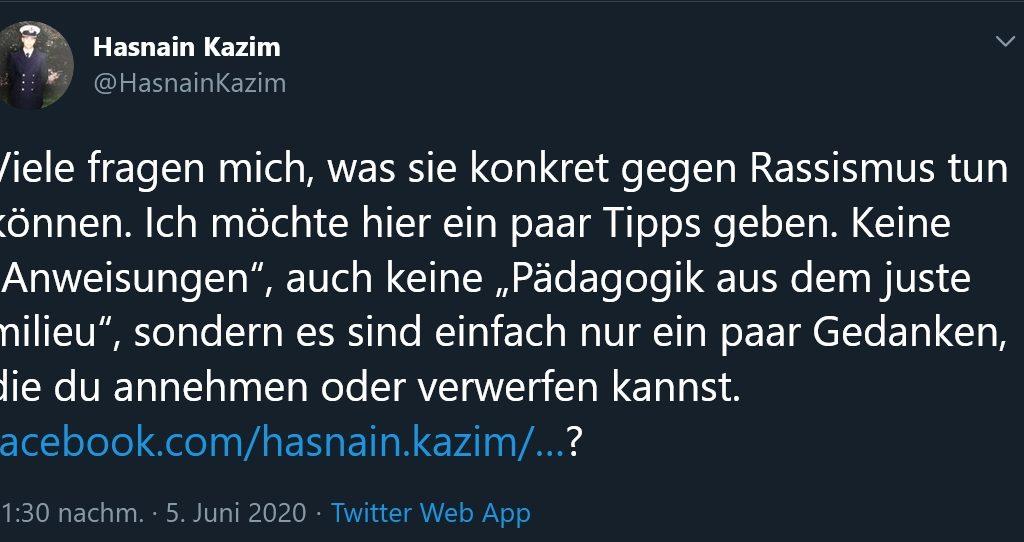 Hasnain Kazims Gedanken zum Rassismus
